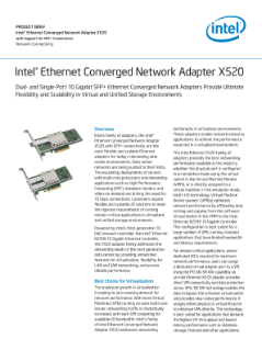 Intel® Ethernet X520 Server Adapters,Inte(r) Ethernet Converged Network Adapter X520 Product Brief v005