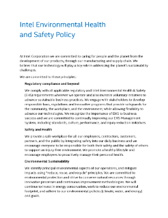 Intel Environmental, Health, and Safety Policy