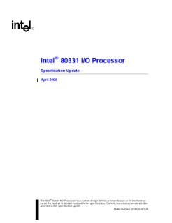 Intel® 80331 I/O Processor: Specification Update