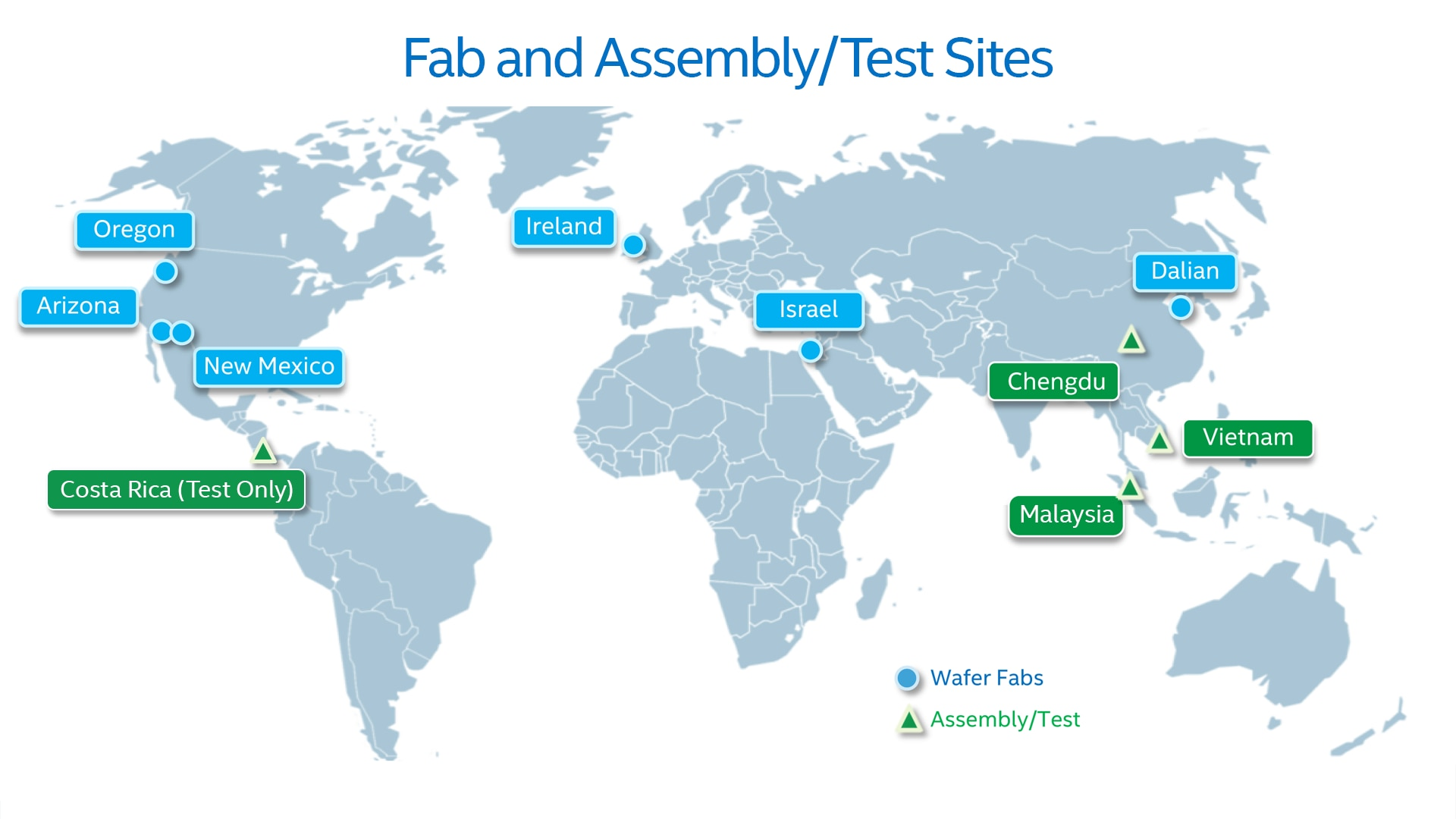 Fab and Assembly Test Sites Map